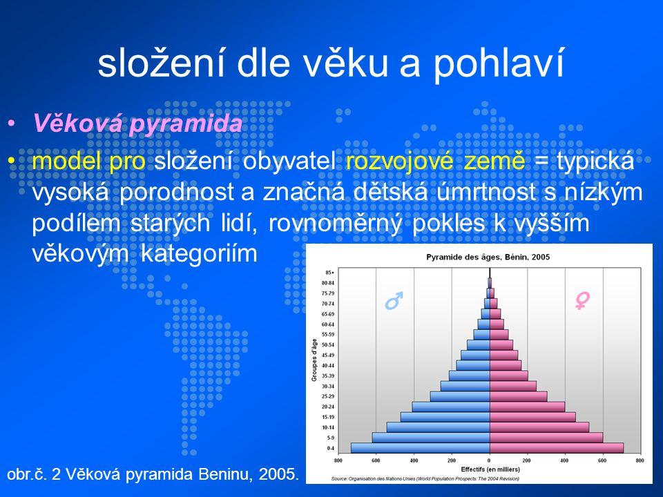složení dle věku a pohlaví Věková pyramida model pro složení obyvatel rozvojové země = typická vysoká porodnost a značná dětská úmrtnost s nízkým podílem starých lidí, rovnoměrný pokles k vyšším věkovým kategoriím obr.č.