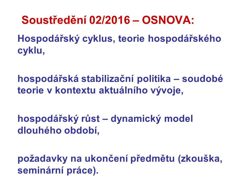 Soustředění 02/2016 – OSNOVA: Hospodářský cyklus, teorie hospodářského cyklu, hospodářská stabilizační politika – soudobé teorie v kontextu aktuálního