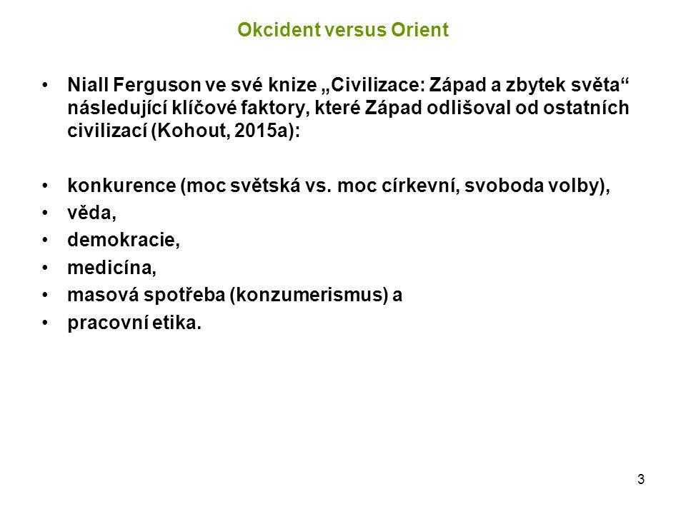 """3 Okcident versus Orient Niall Ferguson ve své knize """"Civilizace: Západ a zbytek světa"""" následující klíčové faktory, které Západ odlišoval od ostatníc"""