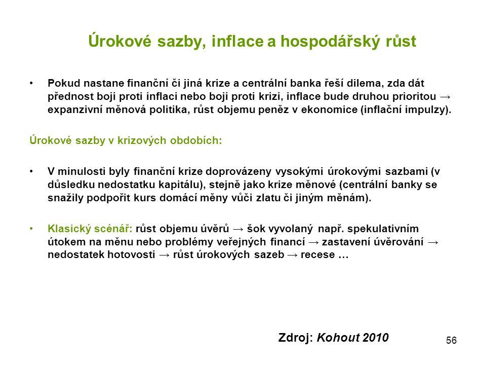 56 Úrokové sazby, inflace a hospodářský růst Pokud nastane finanční či jiná krize a centrální banka řeší dilema, zda dát přednost boji proti inflaci n