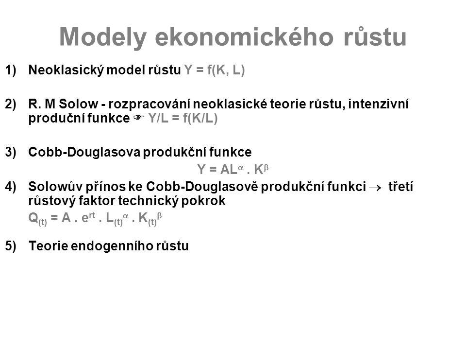 Modely ekonomického růstu 1)Neoklasický model růstu Y = f(K, L) 2)R. M Solow - rozpracování neoklasické teorie růstu, intenzivní produční funkce  Y/L
