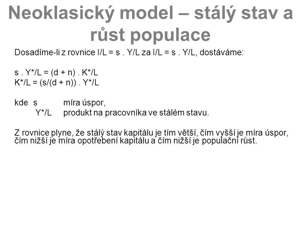Neoklasický model – stálý stav a růst populace Dosadíme-li z rovnice I/L = s. Y/L za I/L = s. Y/L, dostáváme: s. Y*/L = (d + n). K*/L K*/L = (s/(d + n