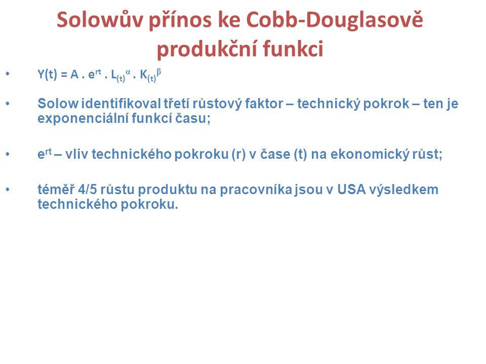 Solowův přínos ke Cobb-Douglasově produkční funkci Y(t) = A. e rt. L (t) α. K (t) β Solow identifikoval třetí růstový faktor – technický pokrok – ten
