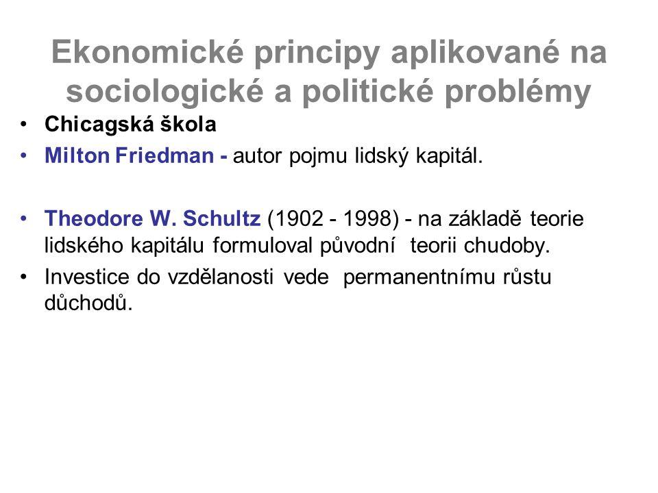 Ekonomické principy aplikované na sociologické a politické problémy Chicagská škola Milton Friedman - autor pojmu lidský kapitál. Theodore W. Schultz
