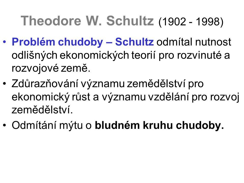 Theodore W. Schultz (1902 - 1998) Problém chudoby – Schultz odmítal nutnost odlišných ekonomických teorií pro rozvinuté a rozvojové země. Zdůrazňování