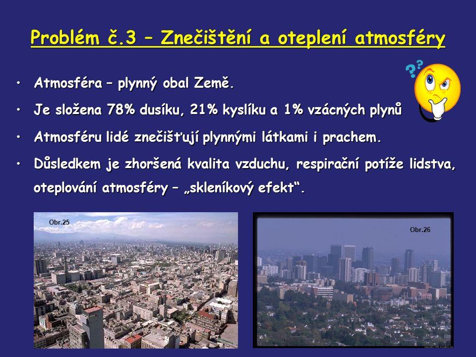 Problém č.3 – Znečištění a oteplení atmosféry Atmosféra – plynný obal Země.Atmosféra – plynný obal Země. Je složena 78% dusíku, 21% kyslíku a 1% vzácn