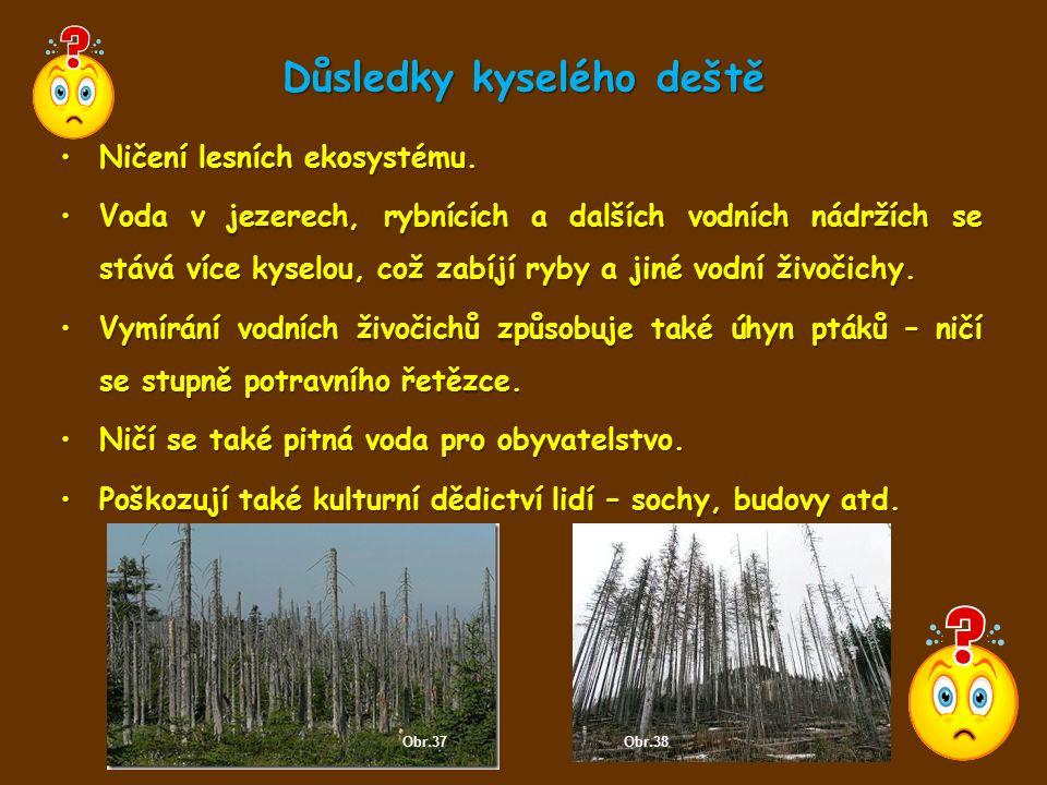 Důsledky kyselého deště Ničení lesních ekosystému.Ničení lesních ekosystému. Voda v jezerech, rybnících a dalších vodních nádržích se stává více kysel