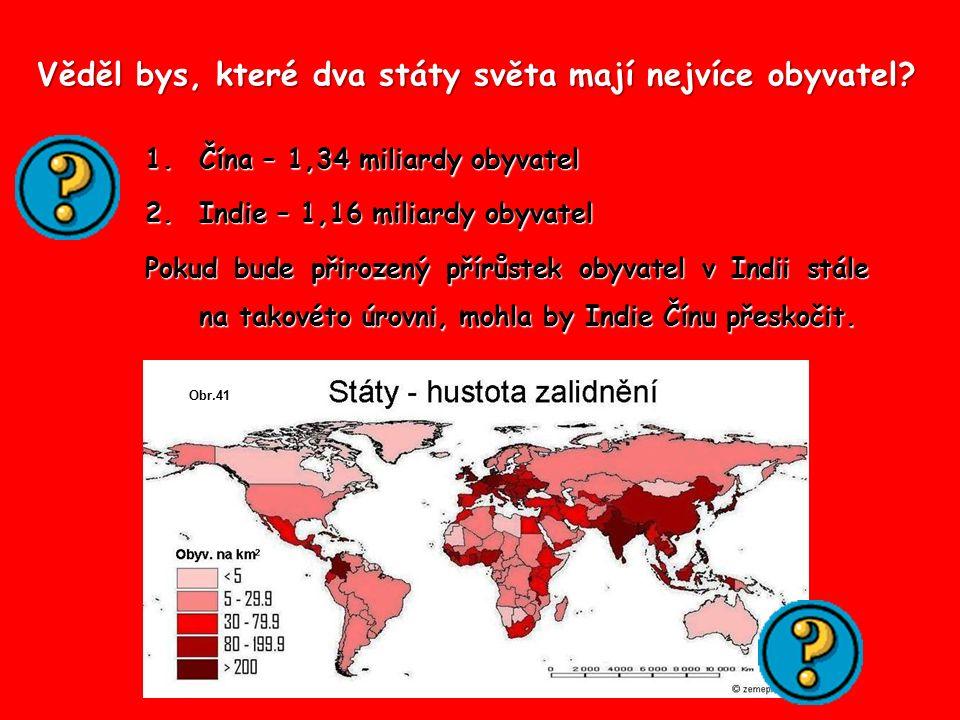 Věděl bys, které dva státy světa mají nejvíce obyvatel? 1.Čína – 1,34 miliardy obyvatel 2.Indie – 1,16 miliardy obyvatel Pokud bude přirozený přírůste