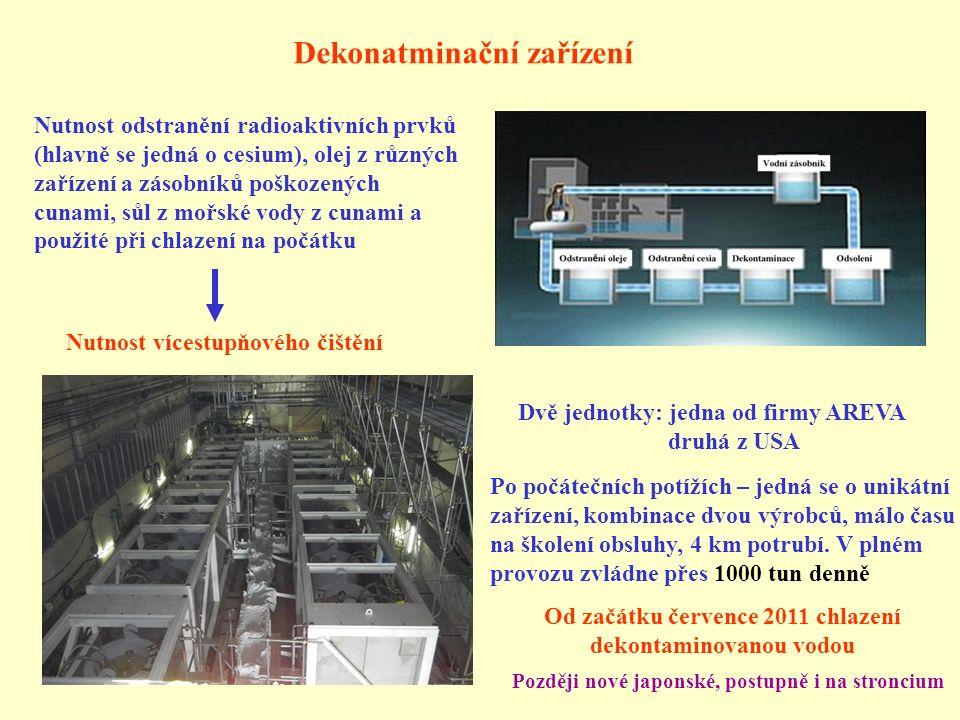 Dekonatminační zařízení Nutnost odstranění radioaktivních prvků (hlavně se jedná o cesium), olej z různých zařízení a zásobníků poškozených cunami, sůl z mořské vody z cunami a použité při chlazení na počátku Nutnost vícestupňového čištění Dvě jednotky: jedna od firmy AREVA druhá z USA Od začátku července 2011 chlazení dekontaminovanou vodou Po počátečních potížích – jedná se o unikátní zařízení, kombinace dvou výrobců, málo času na školení obsluhy, 4 km potrubí.
