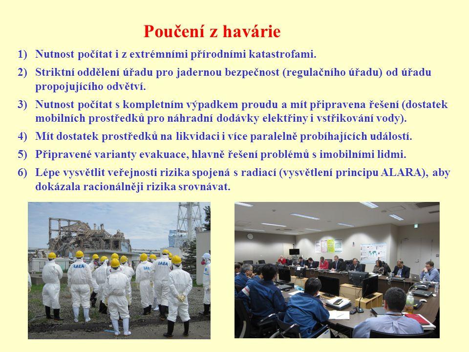 Poučení z havárie 1)Nutnost počítat i z extrémními přírodními katastrofami. 2)Striktní oddělení úřadu pro jadernou bezpečnost (regulačního úřadu) od ú