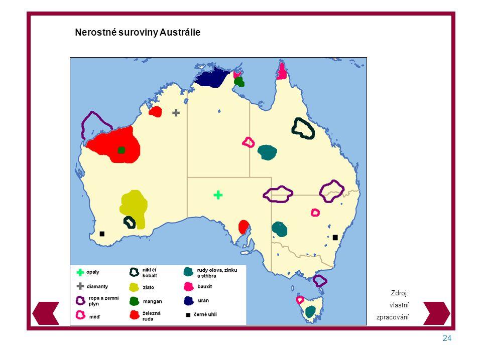 24 Zdroj: vlastní zpracování Nerostné suroviny Austrálie