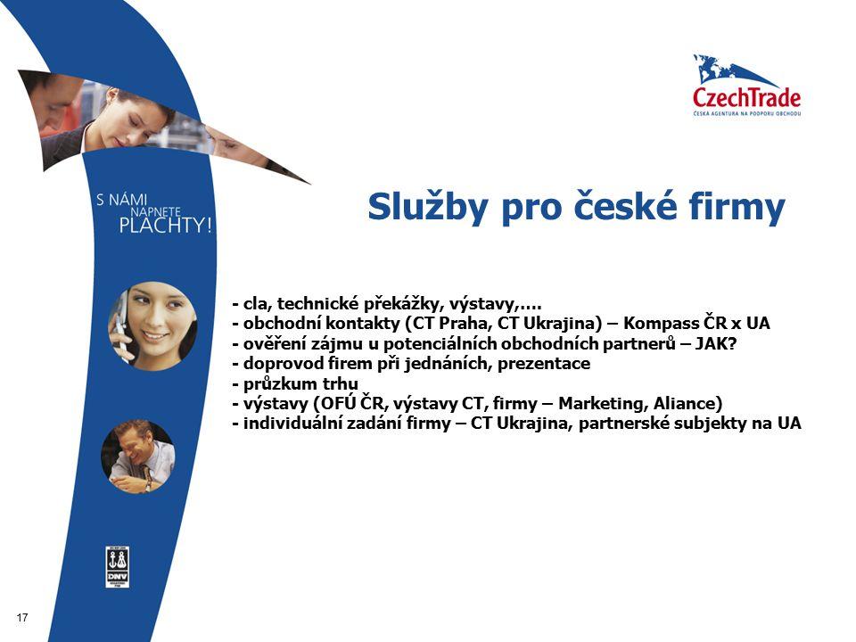 17 Služby pro české firmy - - cla, technické překážky, výstavy,….