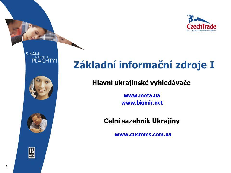 9 Základní informační zdroje I  Hlavní ukrajinské vyhledávače  www.meta.ua www.bigmir.net   www.customs.com.ua  Celní sazebník Ukrajiny