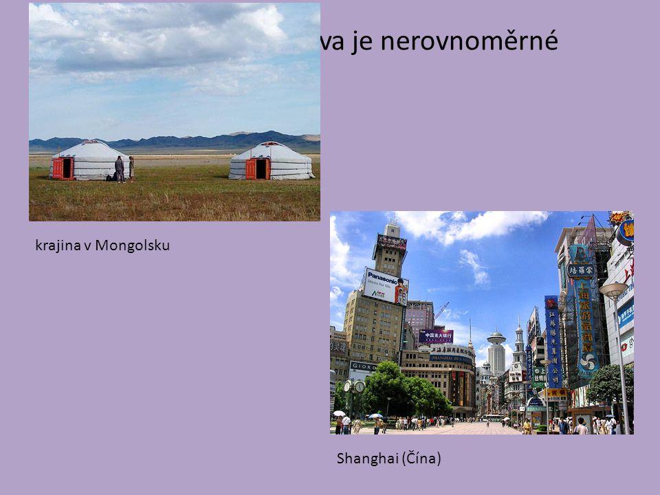 rozmístění obyvatelstva je nerovnoměrné krajina v Mongolsku Shanghai (Čína)