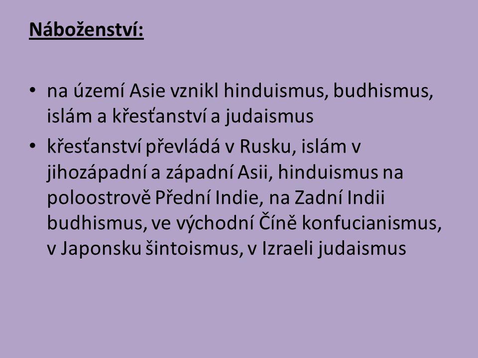 Náboženství: na území Asie vznikl hinduismus, budhismus, islám a křesťanství a judaismus křesťanství převládá v Rusku, islám v jihozápadní a západní A