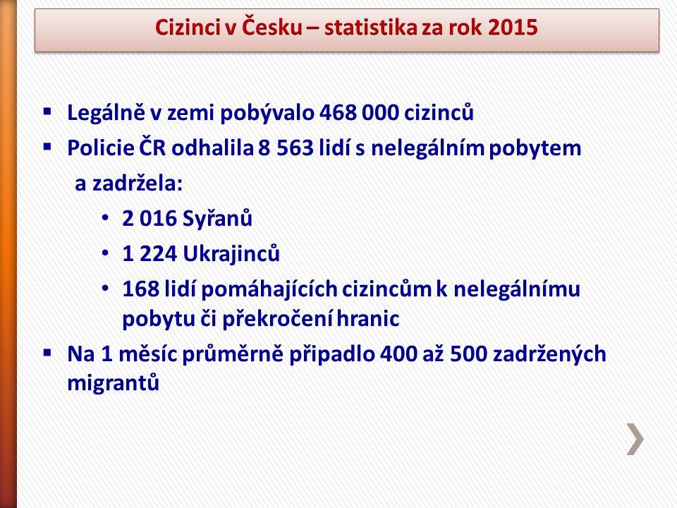  Legálně v zemi pobývalo 468 000 cizinců  Policie ČR odhalila 8 563 lidí s nelegálním pobytem a zadržela: 2 016 Syřanů 1 224 Ukrajinců 168 lidí pomáhajících cizincům k nelegálnímu pobytu či překročení hranic  Na 1 měsíc průměrně připadlo 400 až 500 zadržených migrantů