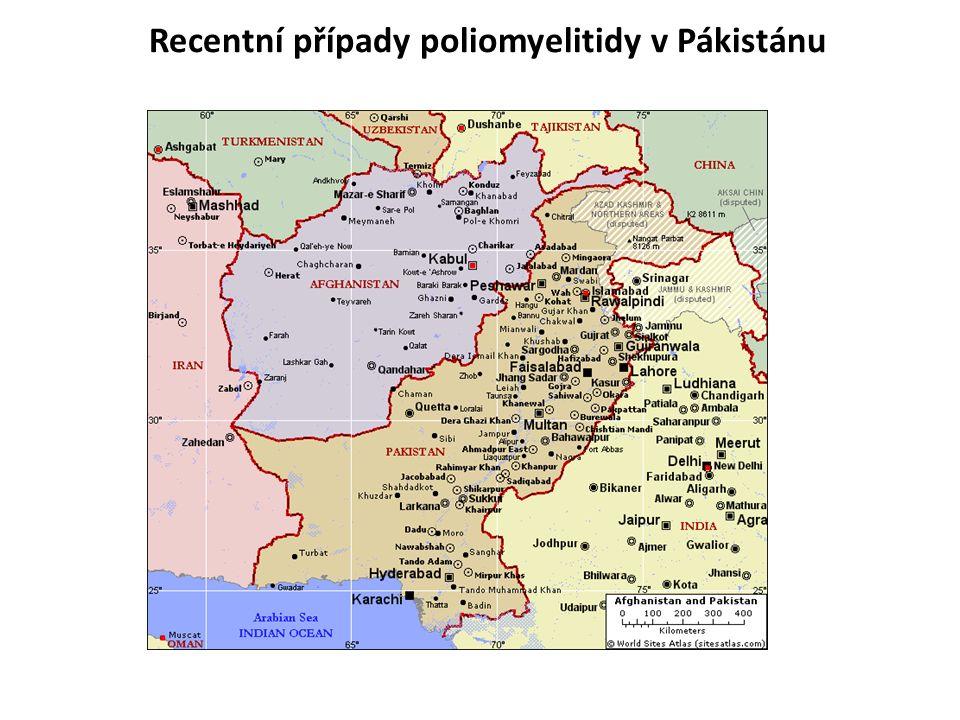 Recentní případy poliomyelitidy v Pákistánu