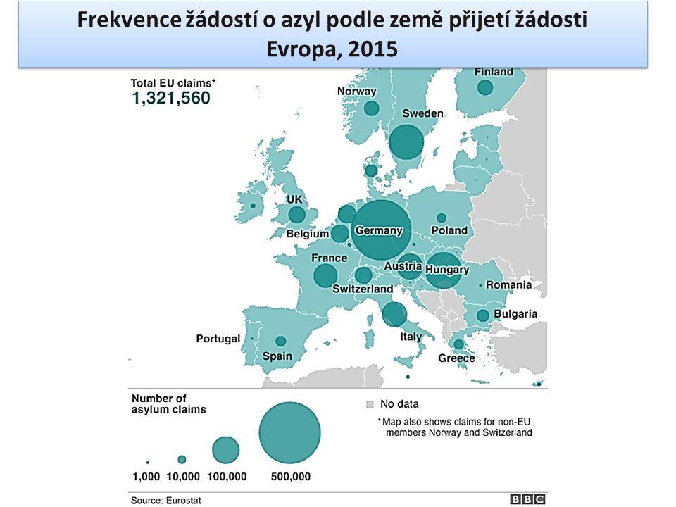 Frekvence žádostí o azyl podle země přijetí žádosti Evropa, 2015 Frekvence žádostí o azyl podle země přijetí žádosti Evropa, 2015