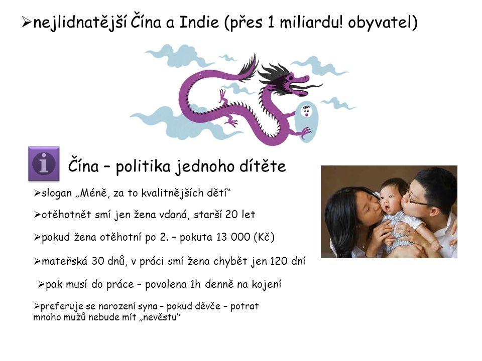  nejlidnatější Čína a Indie (přes 1 miliardu.
