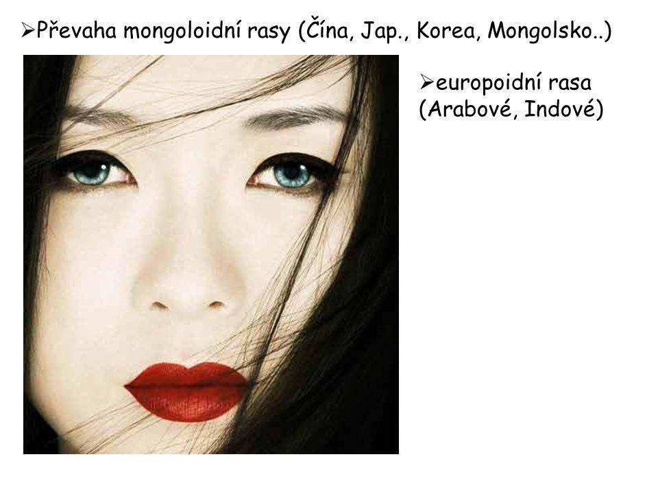  Převaha mongoloidní rasy (Čína, Jap., Korea, Mongolsko..)  europoidní rasa (Arabové, Indové)