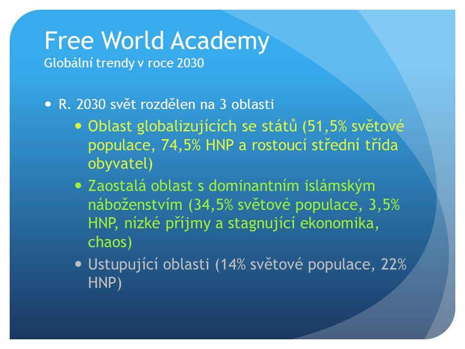 Free World Academy Globální trendy v roce 2030 R. 2030 svět rozdělen na 3 oblasti Oblast globalizujících se států (51,5% světové populace, 74,5% HNP a