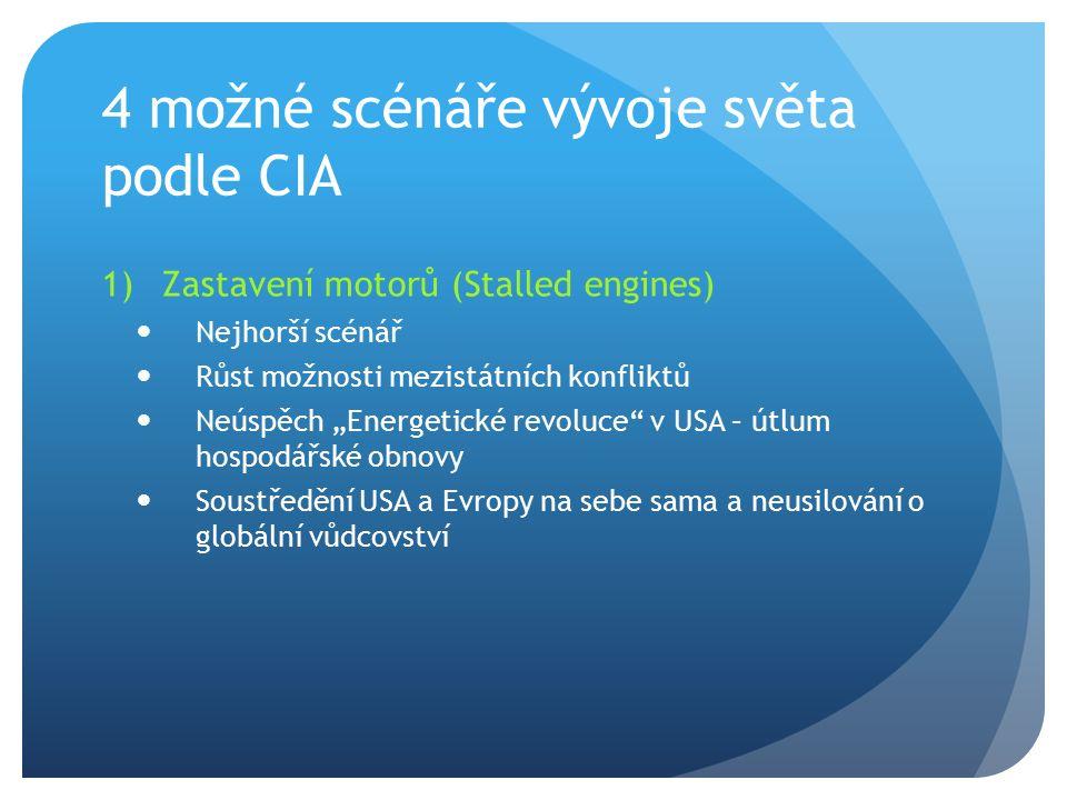 """4 možné scénáře vývoje světa podle CIA 1)Zastavení motorů (Stalled engines) Nejhorší scénář Růst možnosti mezistátních konfliktů Neúspěch """"Energetické"""