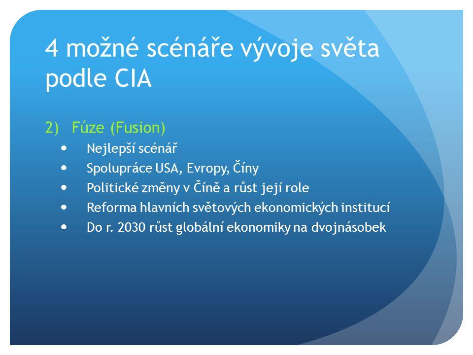 4 možné scénáře vývoje světa podle CIA 2)Fúze (Fusion) Nejlepší scénář Spolupráce USA, Evropy, Číny Politické změny v Číně a růst její role Reforma hl