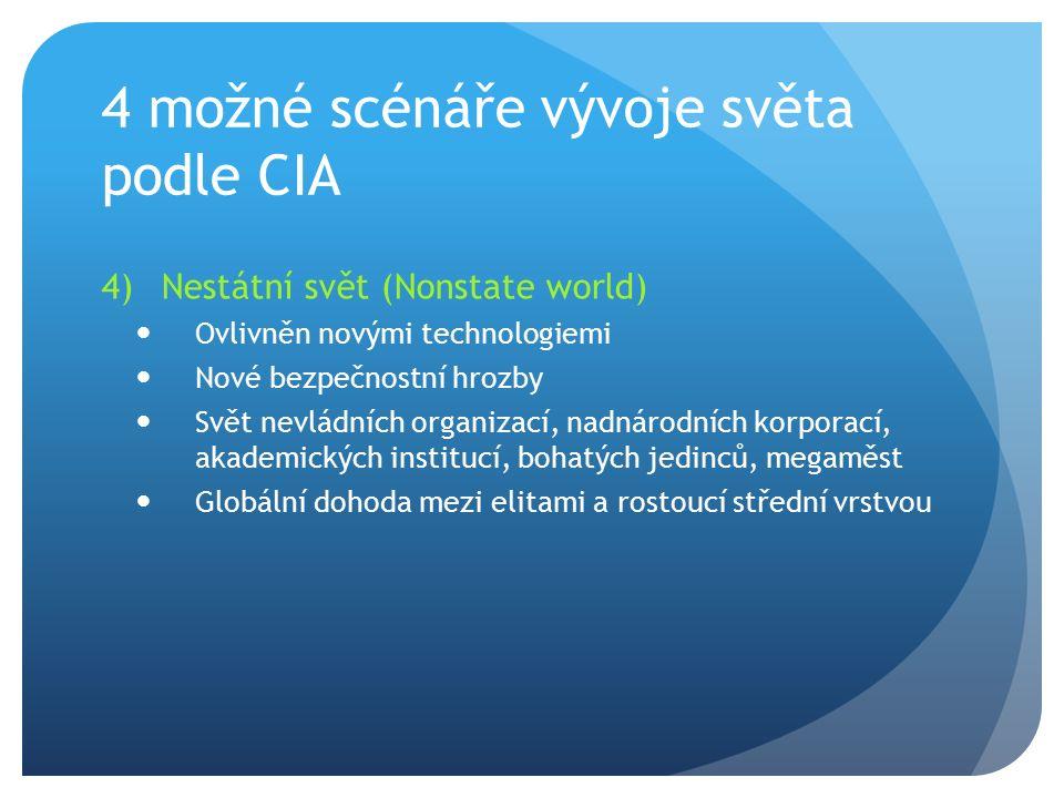 4 možné scénáře vývoje světa podle CIA 4)Nestátní svět (Nonstate world) Ovlivněn novými technologiemi Nové bezpečnostní hrozby Svět nevládních organiz