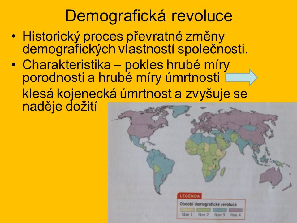 Demografická revoluce Historický proces převratné změny demografických vlastností společnosti.
