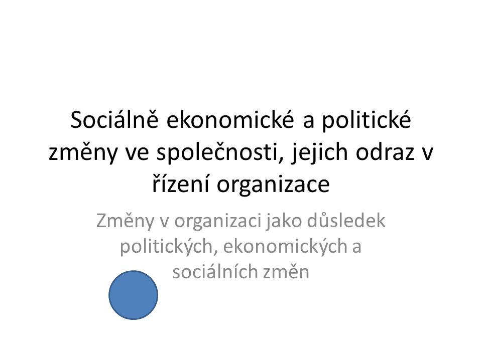 Sociálně ekonomické a politické změny ve společnosti, jejich odraz v řízení organizace Změny v organizaci jako důsledek politických, ekonomických a sociálních změn