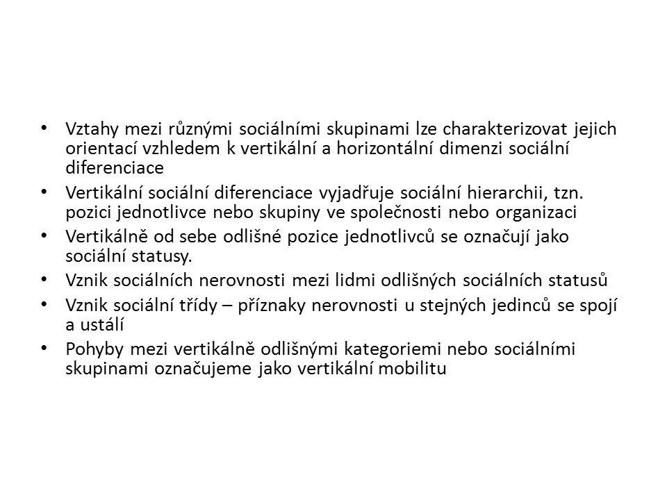 Vztahy mezi různými sociálními skupinami lze charakterizovat jejich orientací vzhledem k vertikální a horizontální dimenzi sociální diferenciace Vertikální sociální diferenciace vyjadřuje sociální hierarchii, tzn.