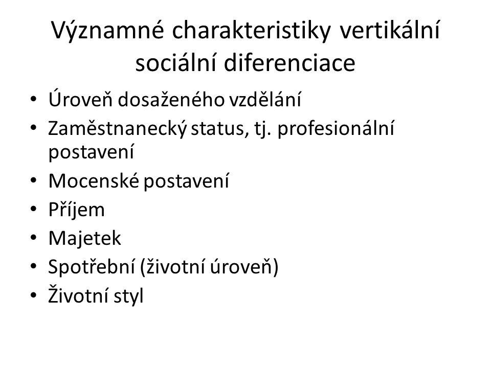 Významné charakteristiky vertikální sociální diferenciace Úroveň dosaženého vzdělání Zaměstnanecký status, tj. profesionální postavení Mocenské postav