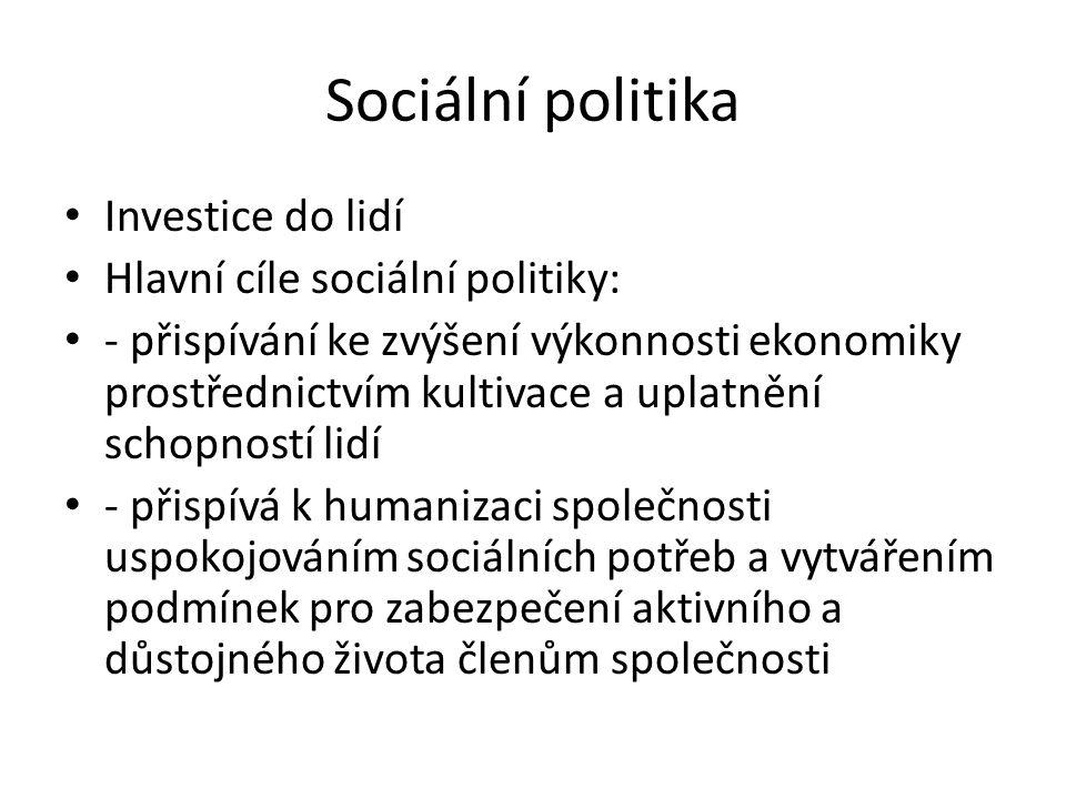 Sociální politika Investice do lidí Hlavní cíle sociální politiky: - přispívání ke zvýšení výkonnosti ekonomiky prostřednictvím kultivace a uplatnění schopností lidí - přispívá k humanizaci společnosti uspokojováním sociálních potřeb a vytvářením podmínek pro zabezpečení aktivního a důstojného života členům společnosti