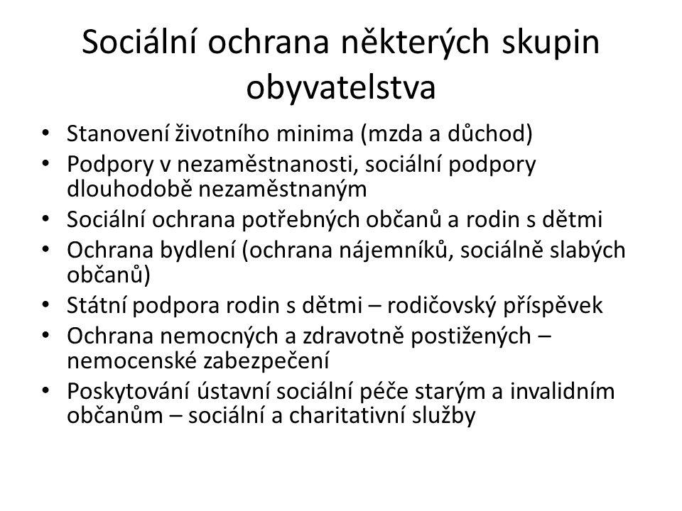 Sociální ochrana některých skupin obyvatelstva Stanovení životního minima (mzda a důchod) Podpory v nezaměstnanosti, sociální podpory dlouhodobě nezam