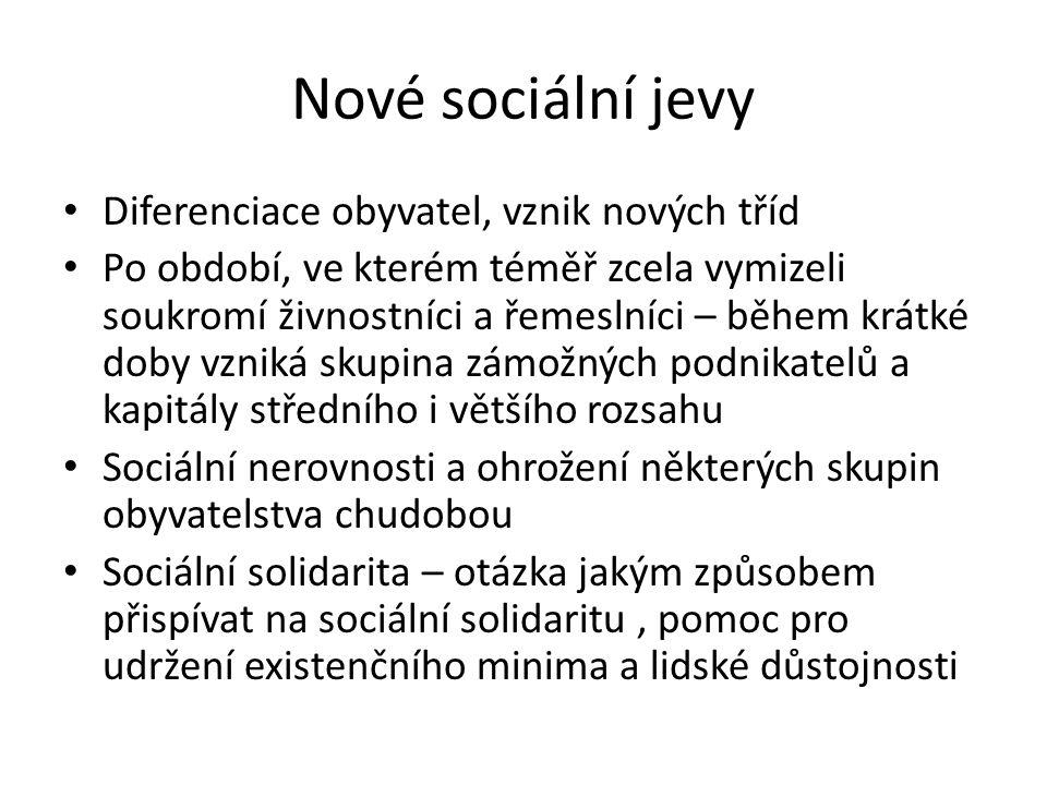 Nové sociální jevy Diferenciace obyvatel, vznik nových tříd Po období, ve kterém téměř zcela vymizeli soukromí živnostníci a řemeslníci – během krátké doby vzniká skupina zámožných podnikatelů a kapitály středního i většího rozsahu Sociální nerovnosti a ohrožení některých skupin obyvatelstva chudobou Sociální solidarita – otázka jakým způsobem přispívat na sociální solidaritu, pomoc pro udržení existenčního minima a lidské důstojnosti