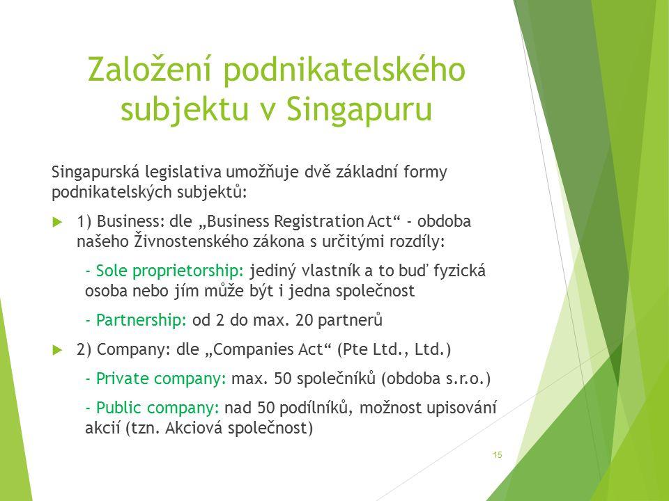 """Založení podnikatelského subjektu v Singapuru Singapurská legislativa umožňuje dvě základní formy podnikatelských subjektů:  1) Business: dle """"Business Registration Act - obdoba našeho Živnostenského zákona s určitými rozdíly: - Sole proprietorship: jediný vlastník a to buď fyzická osoba nebo jím může být i jedna společnost - Partnership: od 2 do max."""