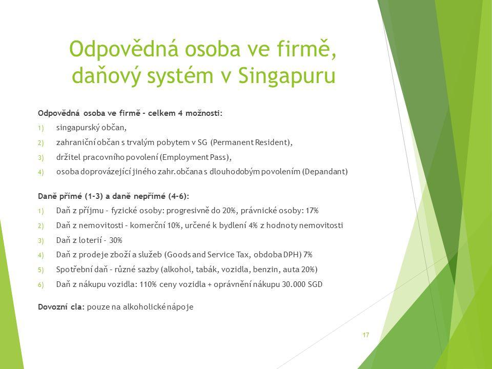 Odpovědná osoba ve firmě, daňový systém v Singapuru Odpovědná osoba ve firmě - celkem 4 možnosti: 1) singapurský občan, 2) zahraniční občan s trvalým pobytem v SG (Permanent Resident), 3) držitel pracovního povolení (Employment Pass), 4) osoba doprovázející jiného zahr.občana s dlouhodobým povolením (Depandant) Daně přímé (1-3) a daně nepřímé (4-6): 1) Daň z příjmu - fyzické osoby: progresivně do 20%, právnické osoby: 17% 2) Daň z nemovitosti – komerční 10%, určené k bydlení 4% z hodnoty nemovitosti 3) Daň z loterií - 30% 4) Daň z prodeje zboží a služeb (Goods and Service Tax, obdoba DPH) 7% 5) Spotřební daň – různé sazby (alkohol, tabák, vozidla, benzin, auta 20%) 6) Daň z nákupu vozidla: 110% ceny vozidla + oprávnění nákupu 30.000 SGD Dovozní cla: pouze na alkoholické nápoje 17