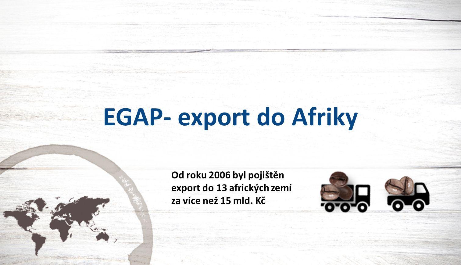 EGAP- export do Afriky Od roku 2006 byl pojištěn export do 13 afrických zemí za více než 15 mld. Kč