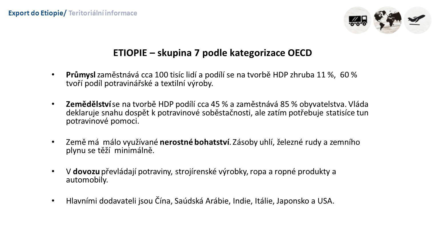 Export do Etiopie/Teritoriální informace ETIOPIE – skupina 7 podle kategorizace OECD Průmysl zaměstnává cca 100 tisíc lidí a podílí se na tvorbě HDP zhruba 11 %, 60 % tvoří podíl potravinářské a textilní výroby.
