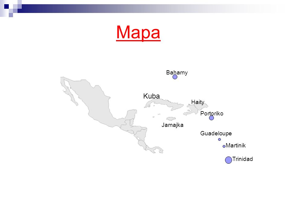 Mapa Kuba Bahamy Haity Jamajka Portoriko Guadeloupe Trinidad Martinik