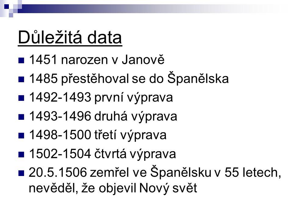 Důležitá data 1451 narozen v Janově 1485 přestěhoval se do Španělska 1492-1493 první výprava 1493-1496 druhá výprava 1498-1500 třetí výprava 1502-1504 čtvrtá výprava 20.5.1506 zemřel ve Španělsku v 55 letech, nevěděl, že objevil Nový svět