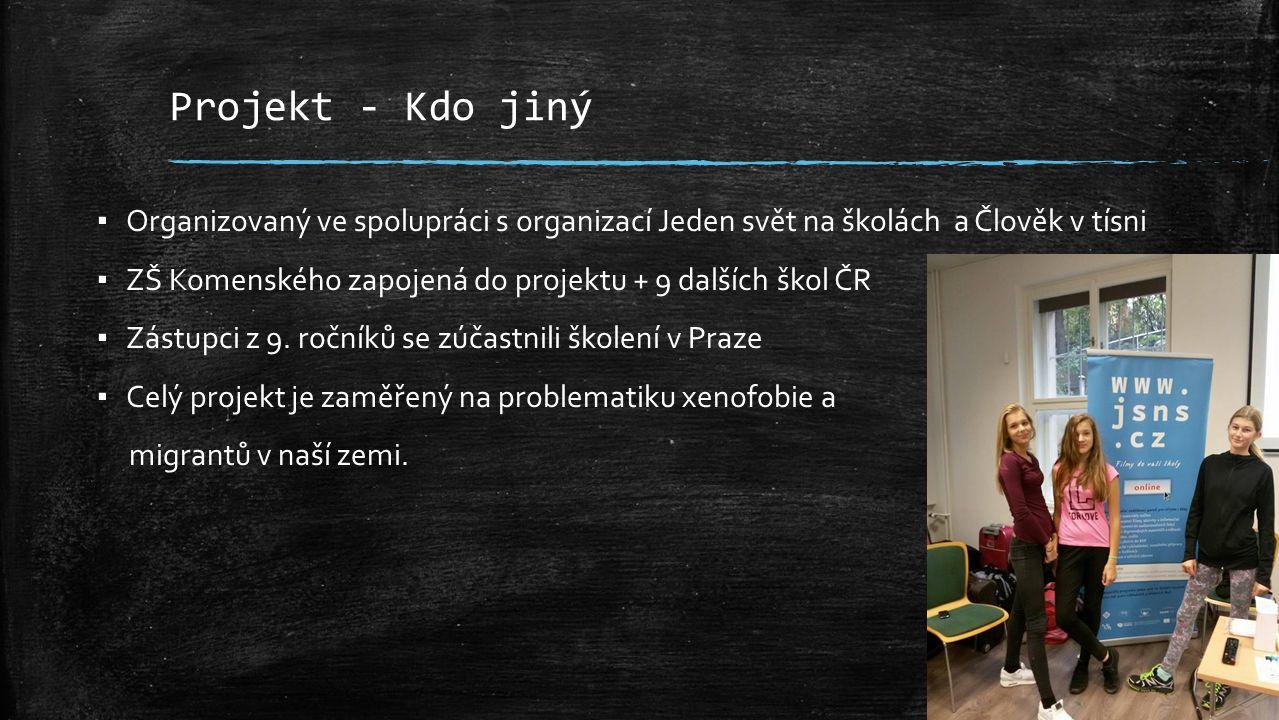 Projekt - Kdo jiný ▪ Organizovaný ve spolupráci s organizací Jeden svět na školách a Člověk v tísni ▪ ZŠ Komenského zapojená do projektu + 9 dalších škol ČR ▪ Zástupci z 9.