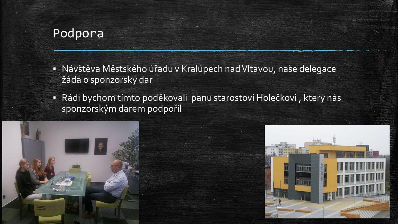 Podpora ▪ Návštěva Městského úřadu v Kralupech nad Vltavou, naše delegace žádá o sponzorský dar ▪ Rádi bychom tímto poděkovali panu starostovi Holečkovi, který nás sponzorským darem podpořil