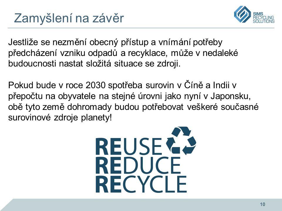 Zamyšlení na závěr Jestliže se nezmění obecný přístup a vnímání potřeby předcházení vzniku odpadů a recyklace, může v nedaleké budoucnosti nastat složitá situace se zdroji.