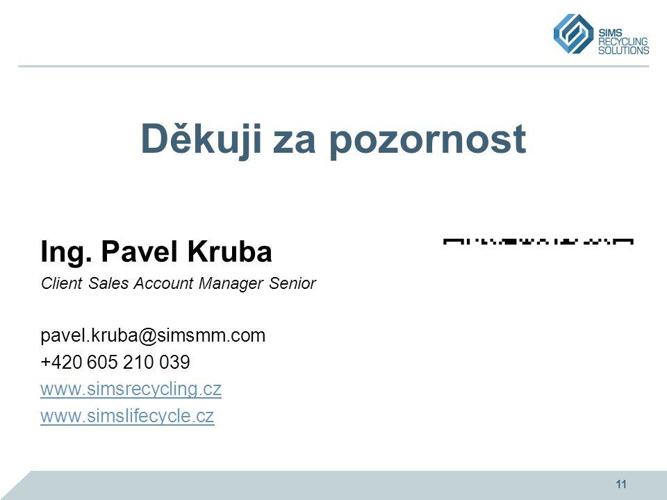 Děkuji za pozornost Ing. Pavel Kruba Client Sales Account Manager Senior pavel.kruba@simsmm.com +420 605 210 039 www.simsrecycling.cz www.simslifecycl