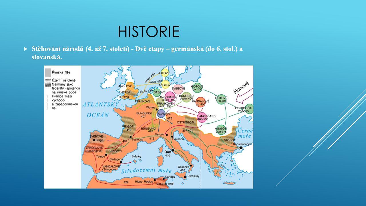 HISTORIE  Stěhování národů (4. až 7. století) - Dvě etapy – germánská (do 6. stol.) a slovanská.
