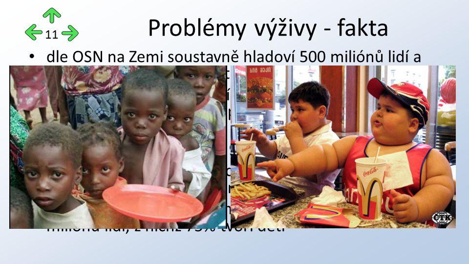 dle OSN na Zemi soustavně hladoví 500 miliónů lidí a více než 1 mld trpí nedostatkem potravy. pouze cca 500 miliónů lidí na Zemi je zabezpečených přeb
