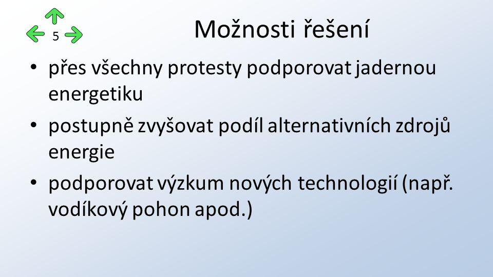 přes všechny protesty podporovat jadernou energetiku postupně zvyšovat podíl alternativních zdrojů energie podporovat výzkum nových technologií (např.