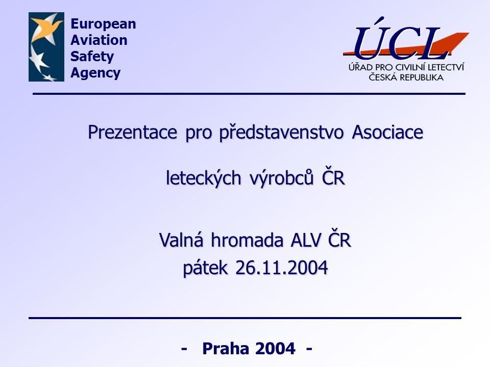 - Praha 2004 - Prezentace pro představenstvo Asociace leteckých výrobců ČR Valná hromada ALV ČR pátek 26.11.2004 European Aviation Safety Agency
