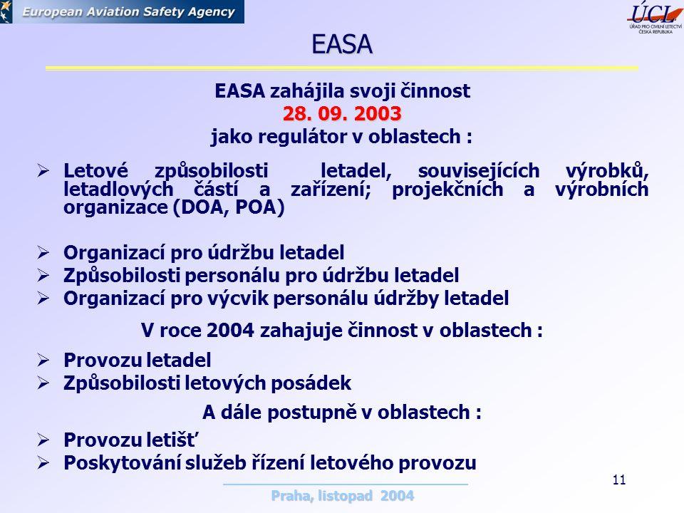 Praha, listopad 2004 11 EASA zahájila svoji činnost 28.